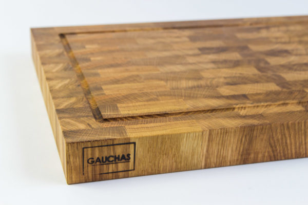 Gauchas End Grain Cutting Board with a juice groove side close up